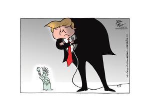No caption (Donald Trump hovers over a miniature Statue of Liberty). by Joel Pett