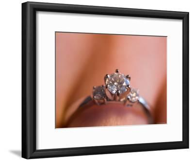 A Close-up View of a Diamond Engagement Ring