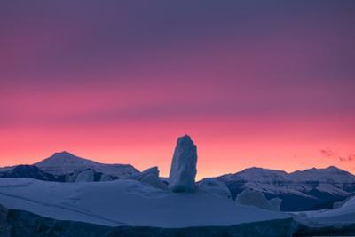 An iceberg with ice structures and mountainous coastline lit by evening sun. by Joel Sartore