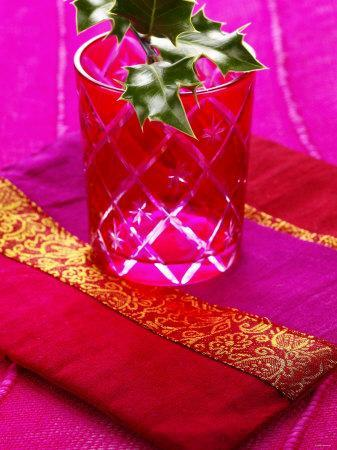 Sprig of Holly in Festive Red Glass on Cushion