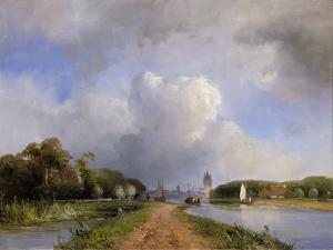 View of the Vliet Near Delft, 1844 by Johan-Barthold Jongkind