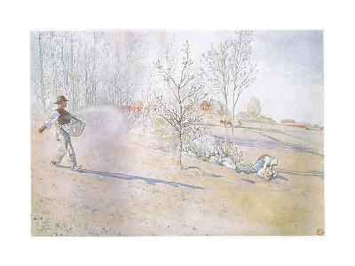 Johan Carried the Oats in a Big Open Bag Fastened by Straps-Carl Larsson-Giclee Print