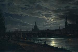 View of Dresden by Moonlight, 1839 by Johan Christian Clausen Dahl