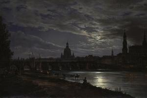 View of Dresden During Fullmoon, 1839 by Johan Christian Clausen Dahl