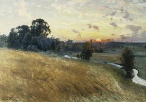 An Extensive Landscape at Sunset, 1902 by Johan Ericson