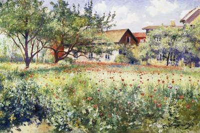 A Swedish Landscape with Poppies by Johan Erik Ericson