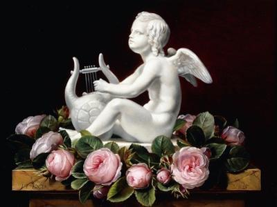 Garland of Pink Roses around Cupid Playing a Lyre on a Marble Ledge, 1841