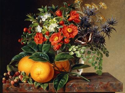 Oranges, Blackberries and a Vase of Flowers on a Ledge, 1834