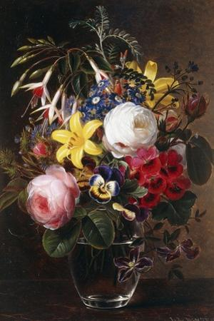 Roses, Lilies, Pansies and Other Flowers in a Vase