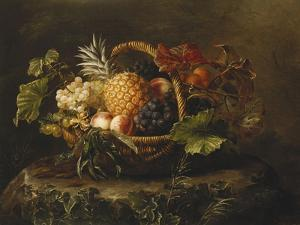 A Pineapple, Grapes, Peaches and Apricots in a Basket by Johan Laurentz Jensen