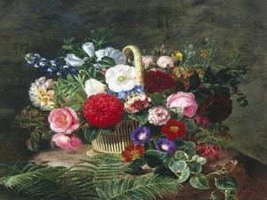 Basket of Roses, Dahlias and Morning Glory with Honeysuckle by Johan Laurentz Jensen
