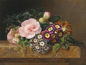 Bouquet of Pink Camellias and Primula on Marble Ledge by Johan Laurentz Jensen