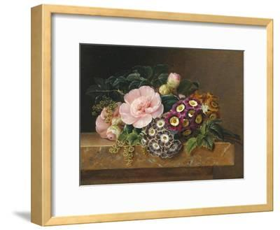 Bouquet of Pink Camellias and Primula on Marble Ledge