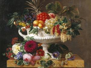 Classical Urn with Gooseberries, Apricots, Nuts and Currants by Johan Laurentz Jensen