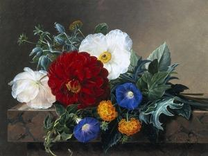 Dahlia with White Poppies, Cherianthus and Morning Glories by Johan Laurentz Jensen