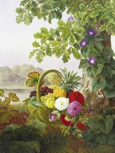Dahlias, Asters and Morning Glory by Johan Laurentz Jensen