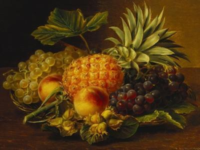 Grapes, Peaches, Hazelnuts and a Pineapple in a Basket