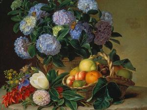 Hydrangea in a Jug and a Basket with Oranges, Lemons and Figs, 1834 by Johan Laurentz Jensen