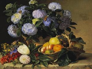 Hydrangea in an Urn and a Basket of Fruit on a Ledge by Johan Laurentz Jensen