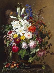 Lilies, Pelargonium and Roses in a Greek Vase by Johan Laurentz Jensen