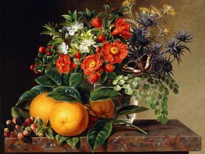 Oranges, Blackberries and a Vase of Flowers on a Ledge. 1834