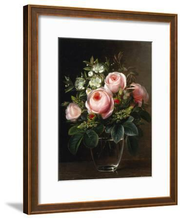 Roses and Tree Anemone in a Glass Vase