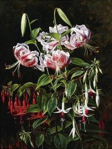 Rubrum Lilies and Fucshias by Johan Laurentz Jensen