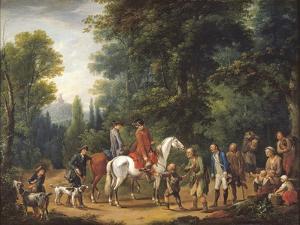 Landscape with Huntsmen and Beggars by Johann Andreas Herrlein