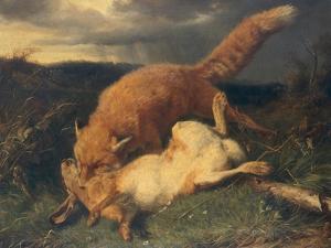 Fox and Hare, 1866 by Johann Baptist Hofner