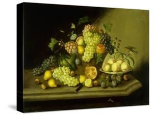 A Still Life with a Basket of Grapes and Mixed Fruit on a Stone Ledge by Johann Georg Seitz