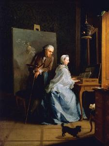 Portrait of Artist and His Wife at Spinet by Johann Heinrich Tischbein