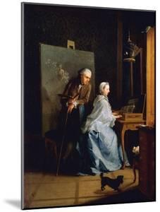 Portrait of Artist and His Wife at Spinet by Johann Heinrich Tischbein