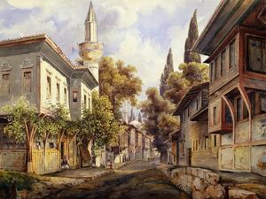 A Street in Constantinople, 1835 by Johann Jakob Wolfensberger