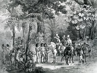 Meeting of the Indians with the European Explorers from 'Picturesque Voyage to Brazil', 1827-35 by Johann Moritz Rugendas
