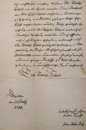 Handwritten Letter to King of Saxony to Accompany Mass in B Minor, Bmw 232 1733