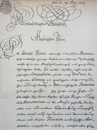 Letter to Prince of Saxony, Frederick Augustus Ii, Sent to Accompany the Mass in B Minor, Bwv 232