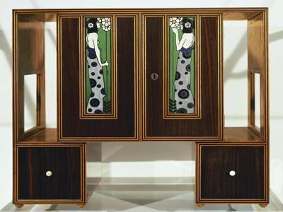 Art Deco Cabinet with Enamel Plaques