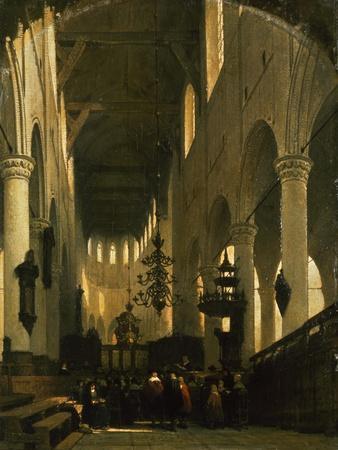 The Faithful in St Peter's Church in Leiden