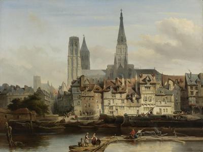 The Quay de Paris in Rouen, Johannes Bosboom, 1839