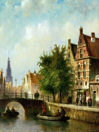 Figures on a Canal, Amsterdam by Johannes Franciscus Spohler