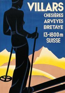 Advertising poster for Villars, Switzerland by Johannes Handschin