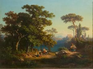Italian Landscape with Peasants by Johannes Jakob Frey