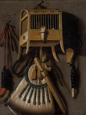 Still Life with Bird Trapping Equipment, 1660