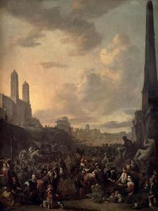 Capriccio View of Rome with a Market by Bernini's Four Rivers Fountain, Santa Trinita Dei Monti by Johannes Lingelbach