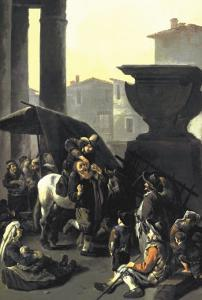 Dentist on Horseback Pulls Tooth in Town Square Before Onlookers by Johannes Lingelbach