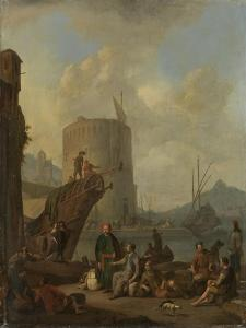 Italian Harbor with Fortress Tower on the Mediterranean by Johannes Lingelbach