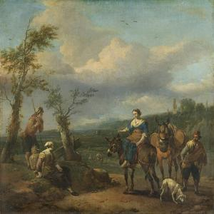 Italian Landscape with Travellers with Wine Casks by Johannes Lingelbach