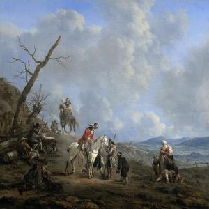 Landscape with Riders, Hunters and Peasants by Johannes Lingelbach