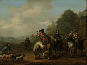 Return from the Hunt by Johannes Lingelbach