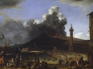 The Port of Naples with Vesuvius Erupting by Johannes Lingelbach